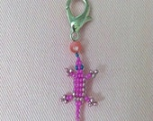 PINK JOURNEY - Small Lucky Lizard Shoe Charm with Pearl Hot Pink and Metallic Pink Beads - Handmade to Enhance Wellness and Save Lives