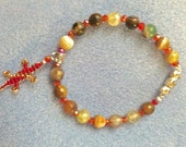 """AGATE JOY-  8 inch """"Lucky Lizard""""  Bracelet w/ Genuine Agate Beads and Faceted Red Beads - Handmade to Save Lives and Enhance Wellness"""