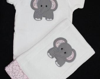 Elephant Bodysuit and Burp cloth set