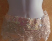 Beautiful Iridescent White Sequined Beaded Bohemian Bridal Wedding Hip Obi Sash Belt Costume Party Club