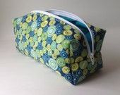 Green and Blue Polka Dot Makeup Bag Medium - MeresCrafts