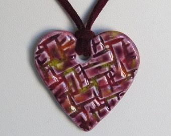 Ceramic Heart Pendant on a Burgundy Micro Fiber Suede Cord