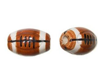 20pcs Ceramic Football Sports beads, 14mm x 10mm Football Bead, Horizontal Hole 2mm, Sports Jewerly - Hand Painted - DS106