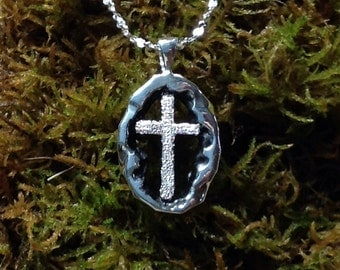 Resurrection Cross Pendant Sterling Silver with Diamond Pave' Tooling Small