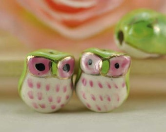 10pcs 16mm Handpainted Cute Ceramic Owl Beads Owl Charms Connector