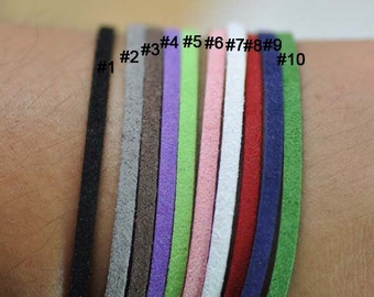 10m Faux Suede Leather Micro Fiber Cord Black 3mm x 1mm Flat Suede Cord, Microsuede Cord - Can mix color -10 pieces each one meter in length
