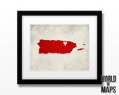 Puerto Rico Map Print - Home Town Love - Personalized Art Print Available in Different Sizes & Colors