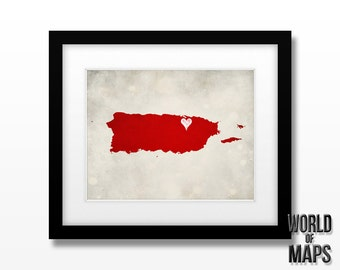Puerto Rico Map Print - Home Town Love - Personalized Art Print
