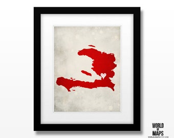Haiti - Map Print - Home Town Love - Personalized Art Print Available in Different Sizes & Colors