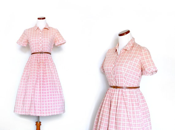Pink Day Dress / 1950s Dress / Plaid Dress /  Schoolgirl Dress / Vintage Clothing /  Vintage Dress / Women Clothing Day Dress