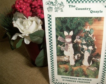 Snowshoe Bunnies and Forest Friends Christmas Decor DIY Winter Crafts Sewing Pattern by The Country Quayle