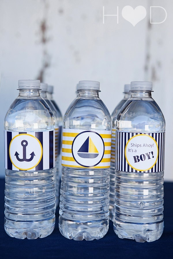 blue and gold nautical baby shower printable water bottle