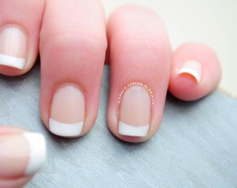 French Tips Hand Painted Nails