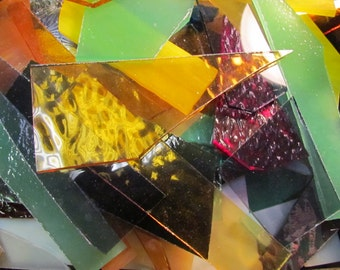 9 Lbs Art Glass Scrap from Stained Glass Studio all colors mfg sizes Mosaic or small suncatchers