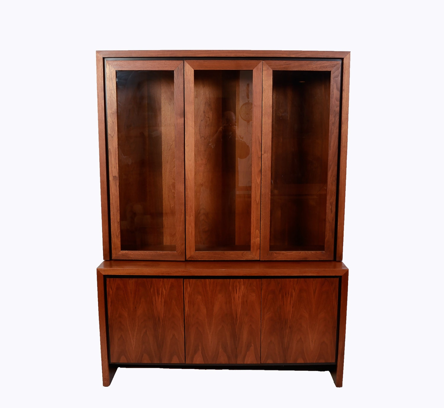 Walnut China Cabinet Dillingham Danish Modern 1976 Brutalist