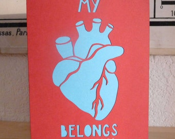 """map """"my heart belongs to you"""" cut paper"""