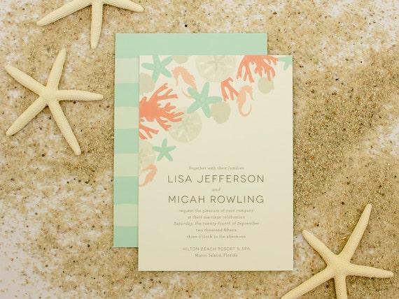 Beach Wedding Invitation Sand Dollar Shells Sea by ...