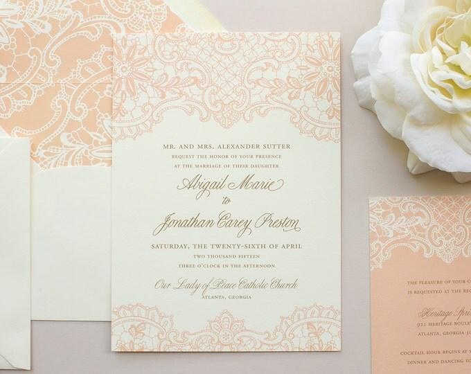 Elegant Lace Wedding Invitation, Vintage Lace Invitation, Peach Invitations, Vintage Wedding Invite SAMPLE | Hope