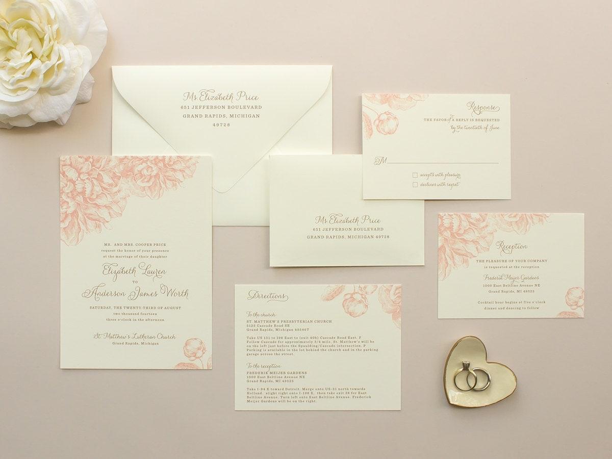Romantic Wedding Invitation Wording: Peony Wedding Invitation Romantic Wedding Invitation With
