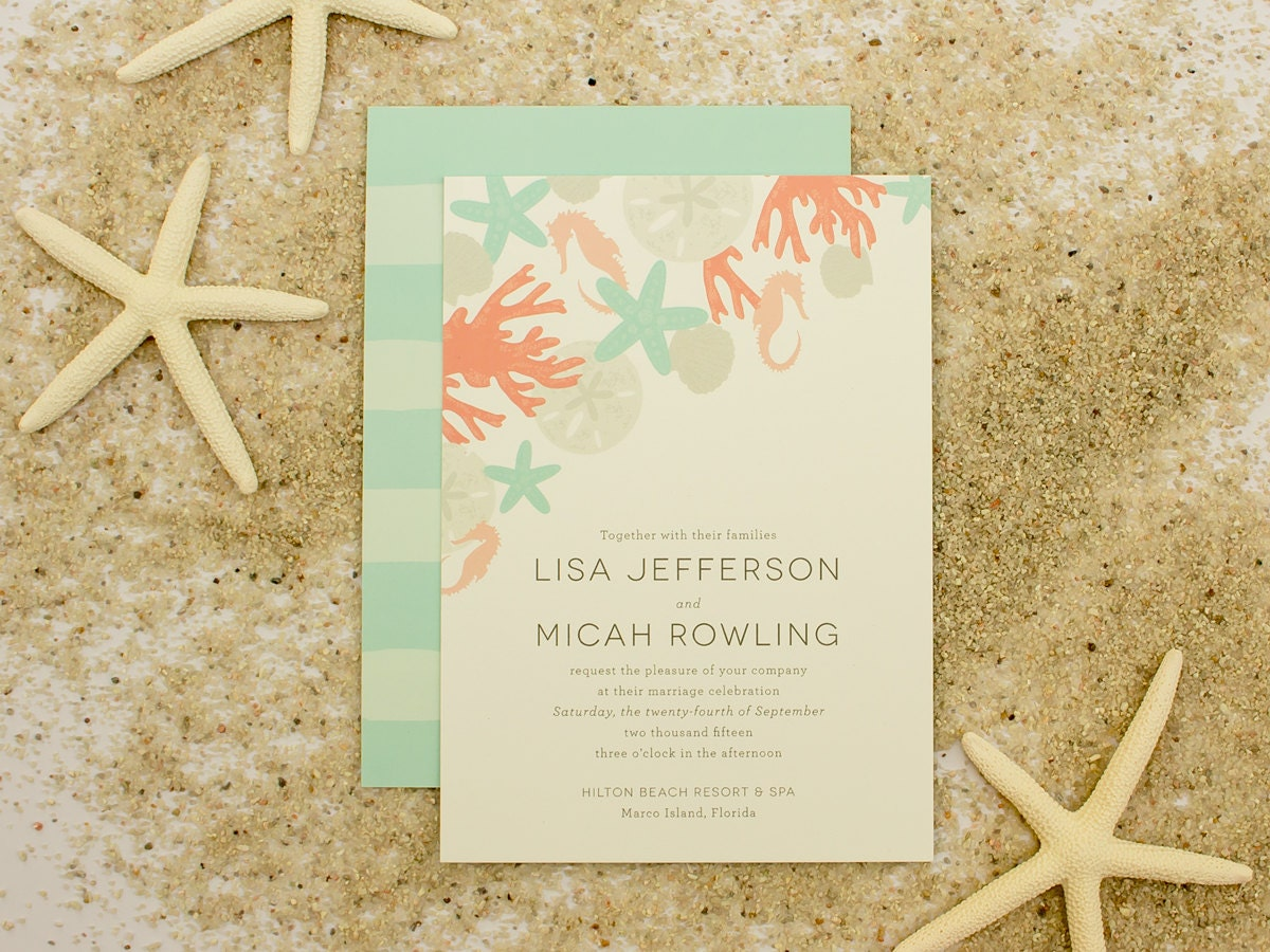 Beach Themed Wedding Invitations Templates: Beach Wedding Invitation Sand Dollar Shells Sea By