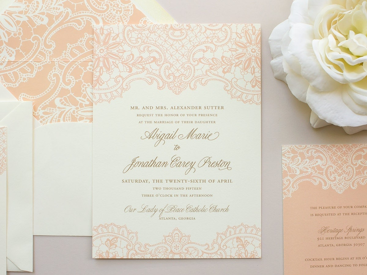 Wedding Invitation Lace: Elegant Lace Wedding Invitation Vintage Lace Invitation