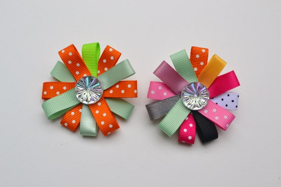 Set of Two Hair Bows - Flower Hair Bows - Multicolored Flower Hair Clips- Girl Hair Clips - Clippies - Hair Accessories for Toddlers Girls