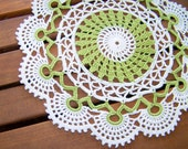 Eco Crochet doily, lace doilie, table decoration, crocheted place mat, center piece, doily tablecloth, table runner, cotton, white and green