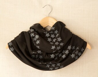 Infinity Scarf, Silver Star Design, Black Jersey Circle Scarf, Hand Printed Cowl, Modern, Screen Printed