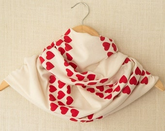Infinity Scarf, Valentines Gift, Red, Heart, Cream Scarf, Jersey Scarf, Circle Scarf, Hand Printed, Cowl, Screen Print, Valentines Day