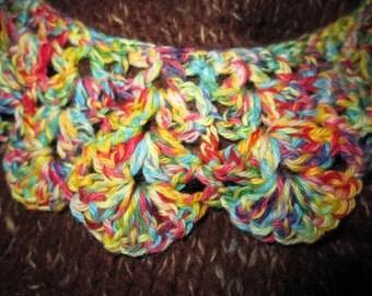 Gehaakt kraagje , crochet collar  ( kleurrijk )