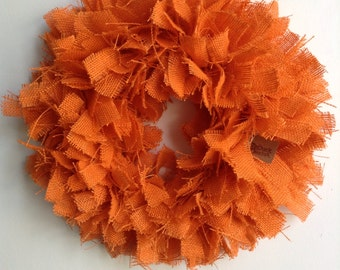 Burlap Fall Wreath, Fall wreath, Autumn Wreath, Orange Wreath, Orange burlap Wreath, Halloween Wreath, Thanksgiving Wreath
