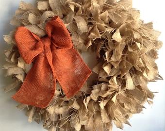 "26"", Fall Wreath, Burlap Wreath, Natural Burlap Wreath, Thanksgiving Wreath, Fall Burlap Wreath, Autumn Wreath, Everyday Wreath"