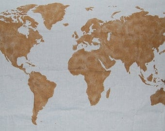 SALE.*.   World Map Wall Tapestry in Gold