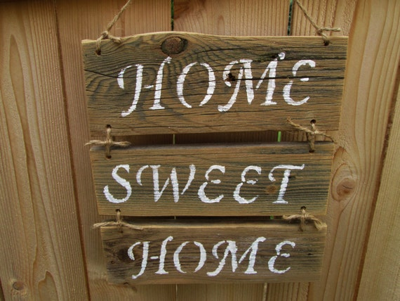 Items similar to home sweet home sign rustic wood sign - Wooden door signs for home ...