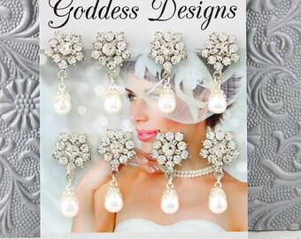 Bridal Earrings Wedding Earrings Wedding Jewelry Bridal Jewelry Vintage Inspired Crystal Pearl Drop Bridesmaids Earrings Style-369