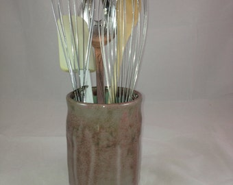 Pink or Mauve and White Utensil Holder