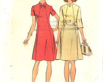 SALE - 1973 Vintage Simplicity Pattern 6158, Sizes 10-1/2 - 12-1/2, Misses' Dress in Half Sizes - Look Slimmer