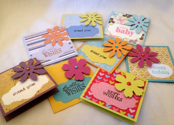 "Set of 8 Handmade Mini 3x3"" Note Cards - Variety of Colors, Patterns, Messages - 3D Die Cut Flowers with Jeweled Center ANYTIME ALL OCCASION"