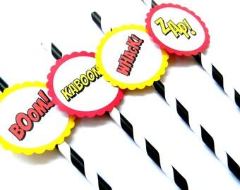 12 Superhero Actions Party Straws, Superhero Birthday, Superhero Theme, Boom, Monster Truck, Action Words, Baby Shower, Stripe Straws, Party