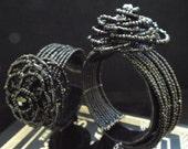 90s glam goth, beaded flower cuff bracelets
