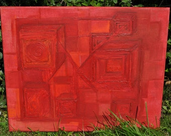 DecoRed- Oil Painting/Canvas - Abstract Art Deco Red 50x40cm