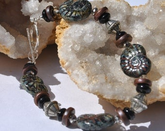 Ammonite Czech glass bracelet in black and brown with sterling silver beads and crystals