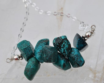 Genuine Turquoise Stone Nuggets on Sterling Silver chain necklace  boho, minimalist, simple