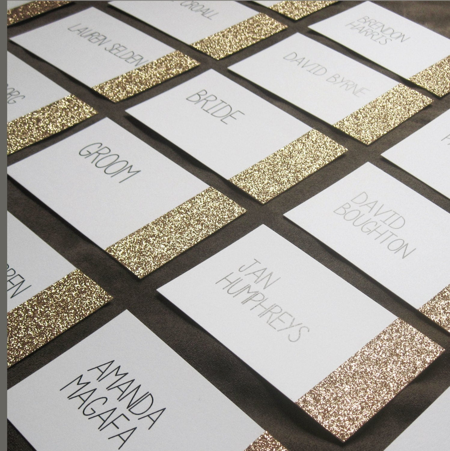 Glitter dipped place cards gold silver or pink glitter on for Design table name cards