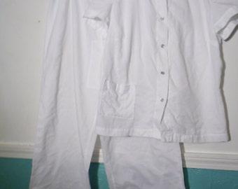 Vintage Handmade Pant Suit Pajama White, Size Medium