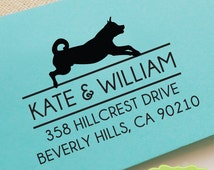 CUSTOM pre inked address STAMP from USA, eco-friendly custom address stamp, pre inked custom rsvp address stamp with proof - dog lover c6-34