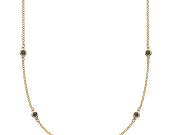 Endless Yellow Gold & Black Diamond Necklace