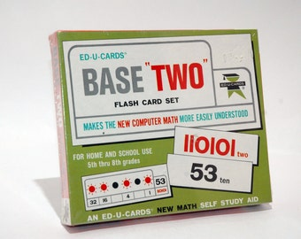 Base Two Math Flash Card Set from Ed U Cards 1967 BRAND NEW (read description)