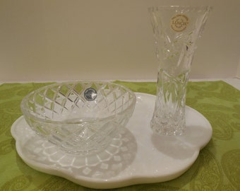Lenox Crystal Vase and Bowl Set- Vintage Crystal w/ Original Lenox Crystal Certificates, Crystal Star Vase and Diamond Bowl. Collectible