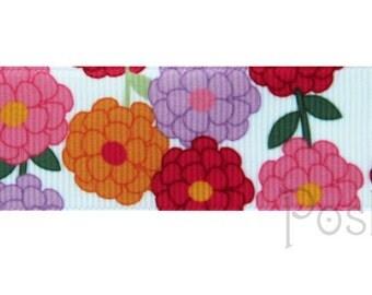 1 INCH Colorful Mum Flowers Print Grosgrain Ribbon - 3 YARDS